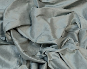 """Dusty Blue Dupioni Silk, 100% Silk Fabric, 44"""" Wide, By The Yard (S-236)"""