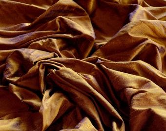 "Iridescent Bronze Sapphire Dupioni Silk, 100% Silk Fabric, 44"" Wide, By The Yard (S-186)"