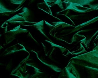 "Iridescent Dark Green Dupioni Silk, 100% Silk Fabric, 44"" Wide or 54"" Wide, By The Yard (S-111)"