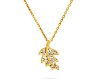Olive Leaf Necklace Gold Lariat Leaf Pendant with CZ Stones