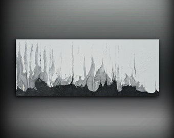 """Black and White Silver Painting 16"""" x 40"""" Acrylic Painting on Canvas Abstract Painting Contemporary Art, Large Wall Art, Black and White Art"""