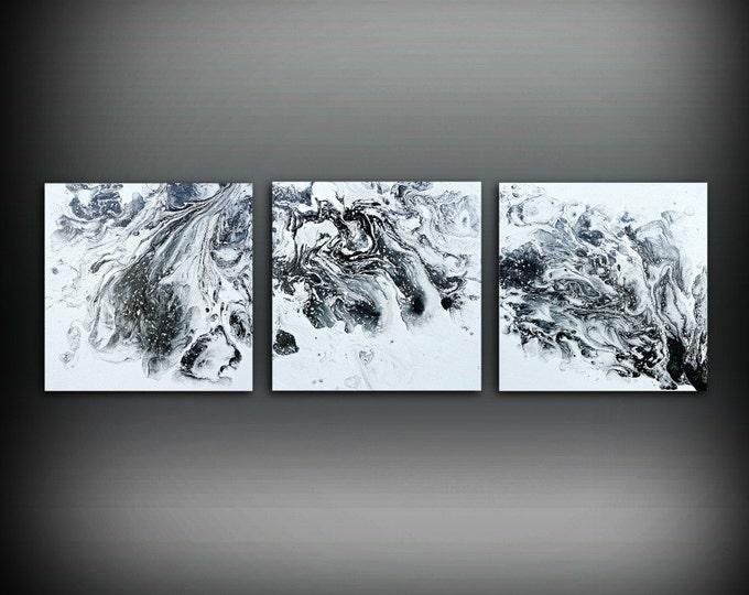Black And White Painting Ideas Part - 36: Original Art Painting Acrylic Painting Abstract Painting Small Wall Art  Black And White Painting Triptych Wall.