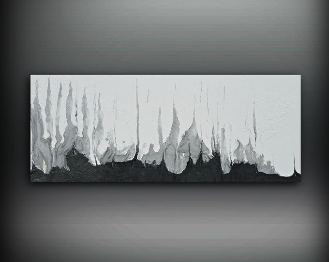 "Black and White Silver Painting 16"" x 40"" Acrylic Painting on Canvas Abstract Painting Contemporary Art, Large Wall Art, Black and White Art"