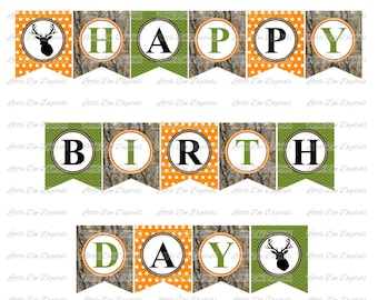 Camo and Deer Themed Happy Birthday Banner - Sign Pennant Bunting - Printable Party Decor - Instant Download