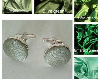 Dupioni silk cufflinks  5 shades of green to choose from