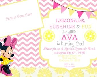 Minnie Mouse Lemonade Stand Invitation- Custom Digital File- Photo Party Invitation