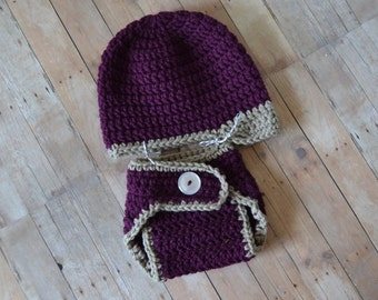 Purple Newsboy Hat and Diaper Cover Set, Girls Infant Hat, Crochet Newsboy Hat, Purple Diaper Cover, Ready to Ship