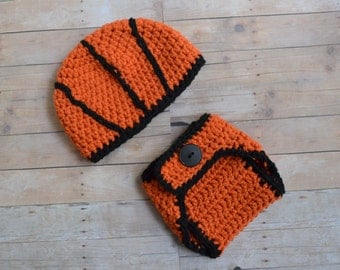 Newborn Basketball Hat and Diaper Cover Set, 0 to 3 months, Made to Order, Crochet Baby Hat, Newborn Photo Prop, Basketball Outfit