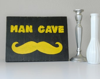 Wood Wall Sign Man Cave  Hand Painted Rustic Decor Wall Hanging Gift for Man Husband Mustache Art