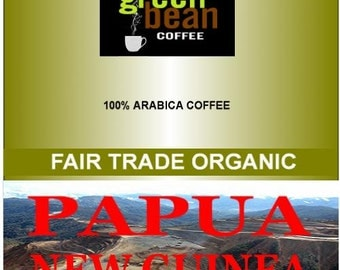 Fair Trade Organic Papua New Guinea coffee. Whole fresh roasted coffee beans. Chocolate, nutty flavor. 12oz (350g)