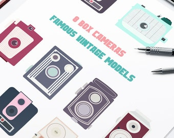 Collectible vintage box cameras cliparts in flat style // Commercial Use // Instant Download