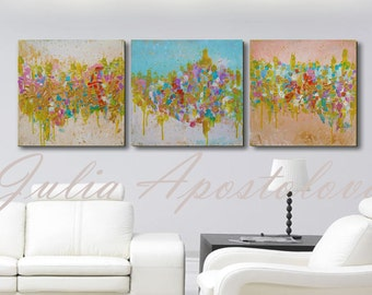 60inch, Original Painting, Triptych, Abstract Art, Huge Wall Art, Minimalist, Modern, Abstract Landscape, Pastel, Gold, Turquoise painting
