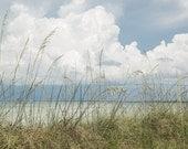 Beach Photography, Seascape Art, Beach Print, Florida Beaches, Seaside Print, Puffy Clouds, Cottage Decor, Beach House Decor, Blue Tones