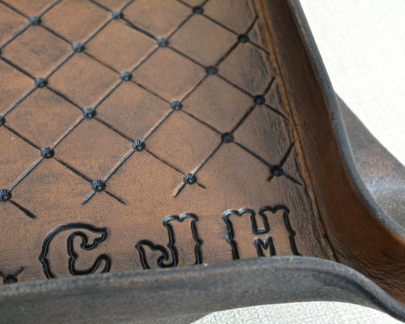 Personalized Leather Valet Tray in Full Grain Leather