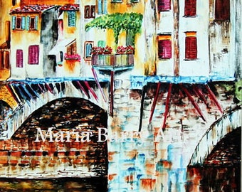 Watercolor Print from an Original Watercolor Painting of Ponte Vecchio bridge in Florence Italy