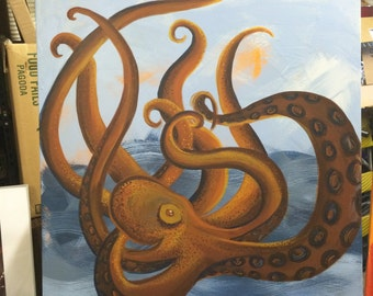 Original Acrylic Octopus Painting 30x30