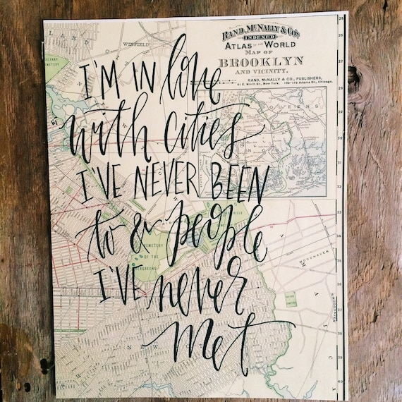 I'm in love with cities I've never been to, Paper Towns, gifts for travelers, vintage Brooklyn map, wanderlust, boho home decor
