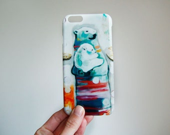 Phone Case, smart phone, mother bear, illustration by Kim Durocher, hard shell, for Iphone and Samsung Galaxy