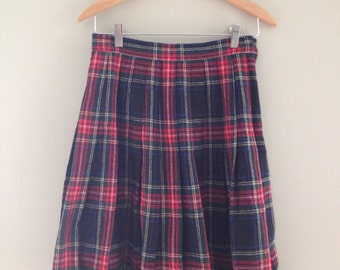 90s Grunge Red Black Plaid Schoolgirl Mini Skirt