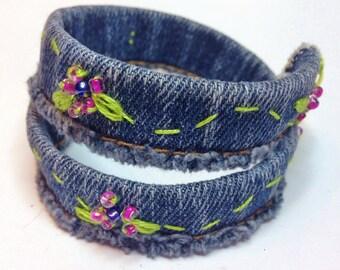 Fun Denim Wrap Bracelet