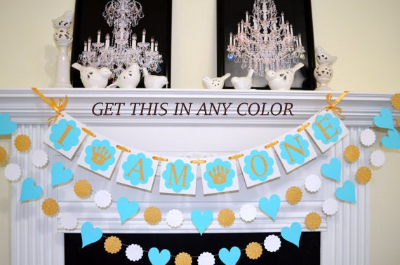 I am one Princess Birthday Banner First Birthday decoration Gold
