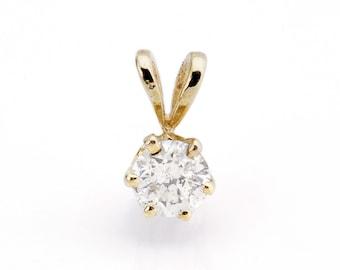 Diamond Pendant 0.30 Carats-Yellow Gold Pendant 14K-Gold Diamond Pendant-Women Jewelry-Anniversary gift-Birthday present-Graduation present