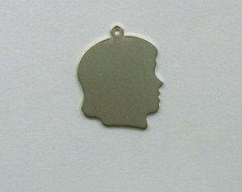 Sterling Silver 25mm Engraveable Girl Head Charm