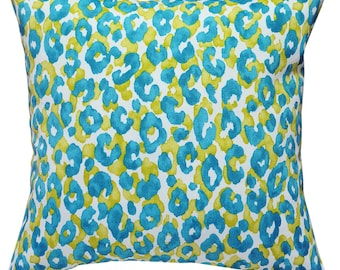 Snow Leopard Island Blue Outdoor Cushion Cover. Pillow Cover.