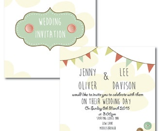 Floral Button Bunting Invitations