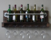 Industrial Rustic Modern 8 Bottle Wall Mount Wine Rack with 6 Glass Slot Holder
