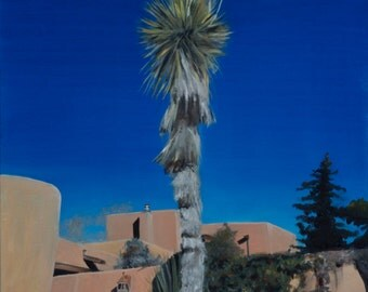 Yucca at Galisteo and Alicante in Santa Fe, New Mexico, original oil painting by Santa Fe artist Raquel Underwood