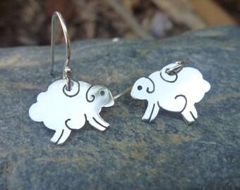 Sterling Silver, Sheep Earrings.