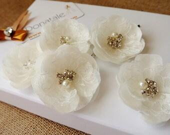 Wedding hair pins Bridal hair pins  Bridal  Hair Flower Bridesmaid Hair Accessories Bridal Hairpiece Wedding Hair Accessories-ROSSANA