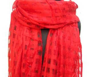 Fashion scarf/ red scarf/ chiffon scarf/ check scarf/ long scarf / gift ideas.