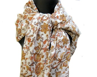 SALE ! was 15USD.now................ Paisley print scarf/ cotton scarf/ multicolored scarf