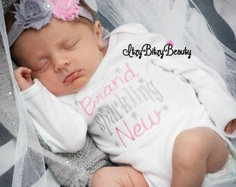 Brand sparkling new baby girl embroidered bodysuit boutique outfit newborn