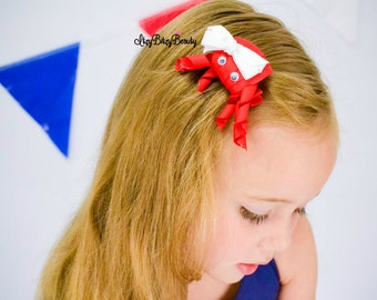 Crab hair clip baby girls patriotic headband red white and blue