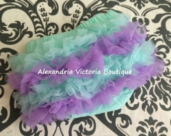 MINT and LAVENDER BLOOMER, chiffon ruffle diaper cover, photo prop, newborn ruffle bloomer-ready to ship!