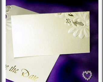 20 x Laser Cut Floral Embossed Ivory Wedding Name Place Cards Ivory Pearlescent Shimmer Card (BA196)