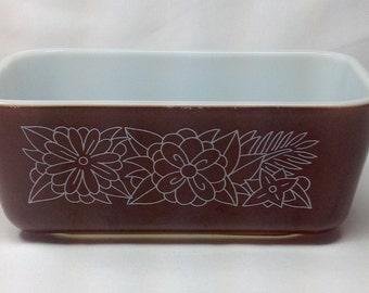 Vintage Pyrex Brown White Flower Woodland Rectangle Baking Casserole Loaf Dish Pan
