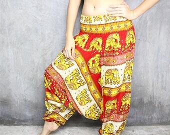 Harem Pants Womens / Boho Pants / Hippie Pants / Yoga Pants / Festival Clothing / Jumpsuit / Bohemian Trouser / Gypsy Baggy Pants HR216