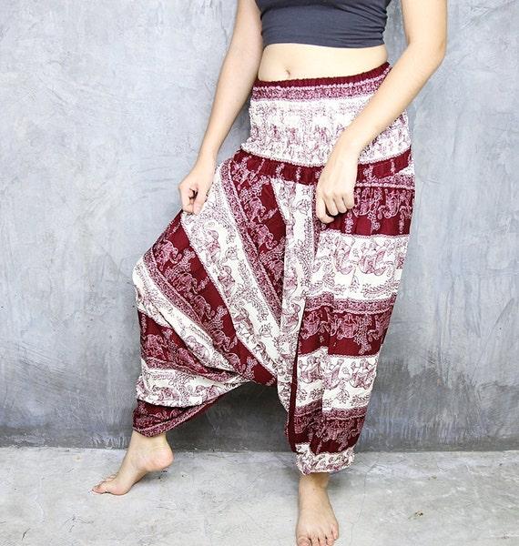 Maroon Yoga Clothing/Harem Pants/Hippie By Chic2Boho On Etsy
