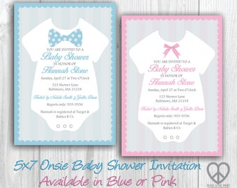Onsie Baby Shower 5x7 Printable Invitation - Available in Pink or Blue with Bow Tie or Ribbon Bow