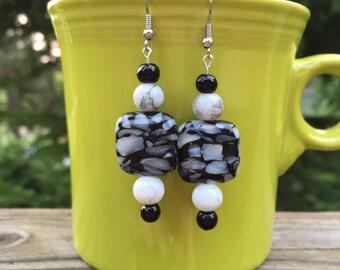 Black, Gray, and Cream Speckled Dangle