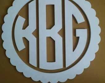 "Large Monogram, Circular Monogram, Home Decor, 24"" or 32"" Wooden Monogram, Wall Art, Initial monogram,painted,Wedding Decor"
