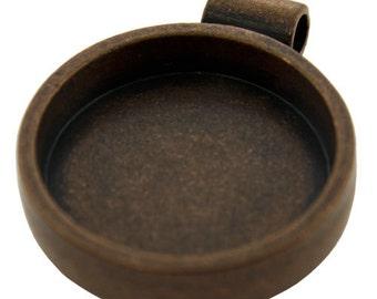 """Round Pendant 1-1/16"""" ID Antique Copper Color  (3000CC-43)"""