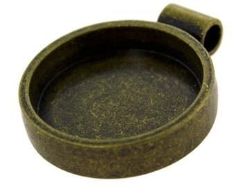 """Round Pendant 1-1/16"""" ID Antique Gold Color  (3000GC-43)"""