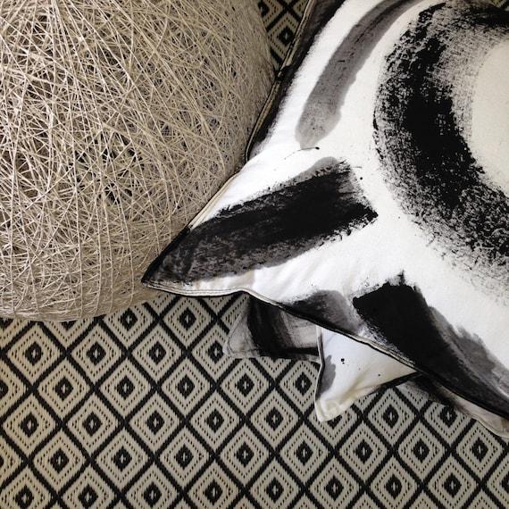 Reversable Modern Cushion Black & White hand painted brush strokes 50cm