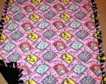 Disney Princess Snow White, Cinderella, Belle, Rapunzel Fleece Tie Blanket