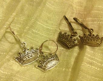 Beautiful Crown Earrings on Lever Backs
